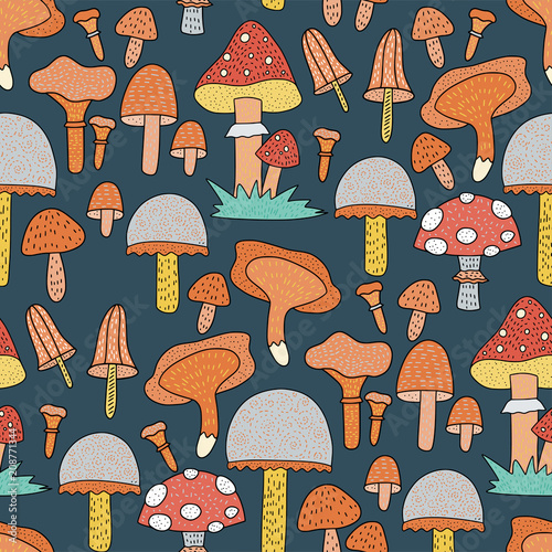 Deurstickers Magische wereld Seamless vector forest pattern with cute color illustrations.
