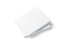 Blank White Two Rectangular Book Mockup Stack, Top Side View, 3d Rendering. Empty Notebook On Each Other Hard Cover Mockup, Isolated. Bookstore Branding Template
