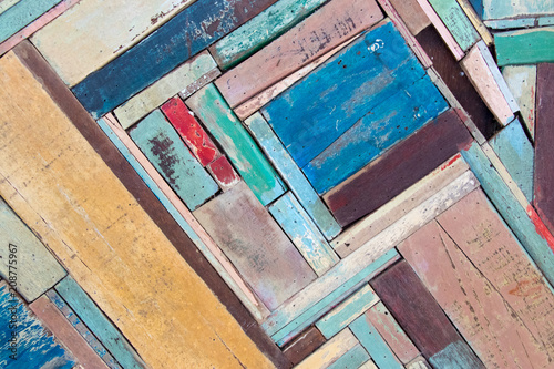 Fototapety, obrazy: Old various color of wood panel textured background