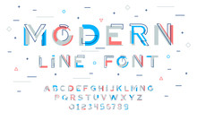 Stylish Modern Abstract Font And Alphabet With Numbers. Vector Colorful Font From Pieces Of Shapes And Strips, Glitch Effect.