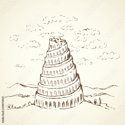 Photo Tower of Babel. Vector drawing