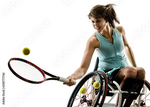 one caucasian young handicapped tennis player woman in welchair sport tudio in silhouette isolated on white background