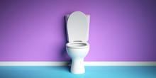 White Toilet Bowl On Purple An...