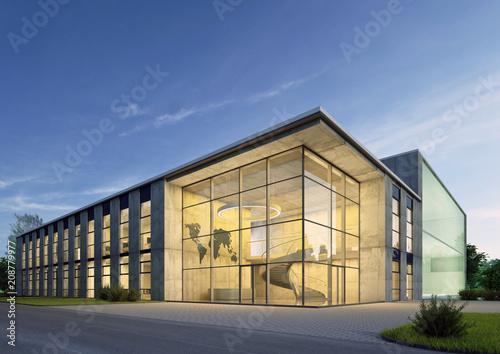 Obraz Geschäftsgebäude 2 am Abend - fototapety do salonu