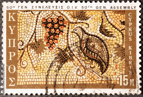 Foto op Canvas Cyprus Old mosaic on postage stamp of Cyprus