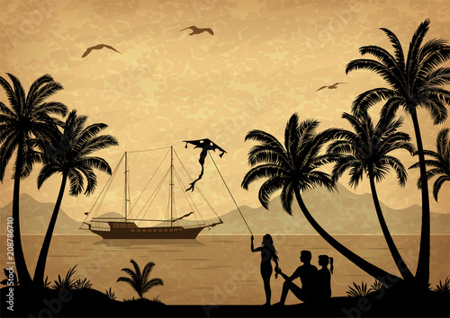 Keuken foto achterwand Beige Exotic Landscape, People with Kites on Tropical Beach with Palm Trees Silhouettes, Ship In Ocean, Seagulls and Mountain Silhouettes. Vector