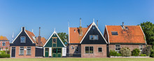 Panorama Of Traditional Dutch Houses In Oudeschild, The Netherlands