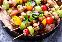 Kebabs,vegetables On Skewer