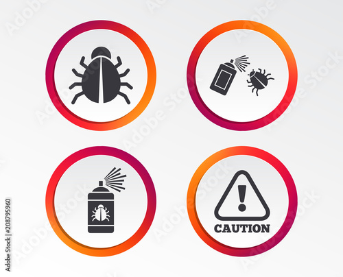 Bug disinfection icons. Caution attention symbol. Insect fumigation ...