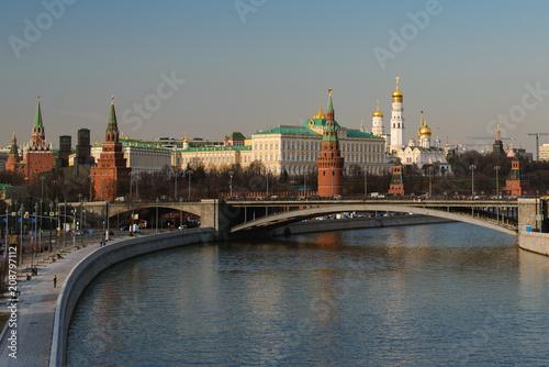 Fotobehang Moskou View of the Moscow Kremlin and Bolshoy Kamenny Bridge. Moscow. Russia