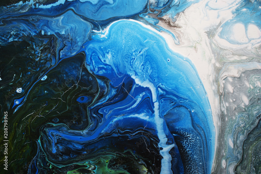 Fototapety, obrazy: Creative blue abstract hand painted background, wallpaper, texture, close-up fragment of fluid acrylic painting. Cracked surface. Contemporary art.
