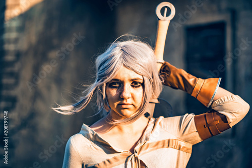 Photo  Fantasy cosplay beautiful girl from Witcher