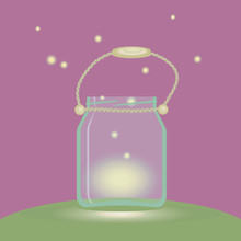 Glass Bank Lantern With Fireflies Lights On A Pink Background Green Glade Rope Handle Vector Illustration