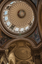 Inside View Of The Colorful And Richly Decorated Pantheon Dome And Ceiling In Paris. Known As One Of The Most Impressive World's Cultural Center. Northern France.