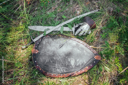 Deurstickers Vechtsport Saber, sword and Shield of the Mongolian soldier lie on the ground in high green grass. Lost, taken after the battle. Medieval weapons of a nomad, steppe soldier.