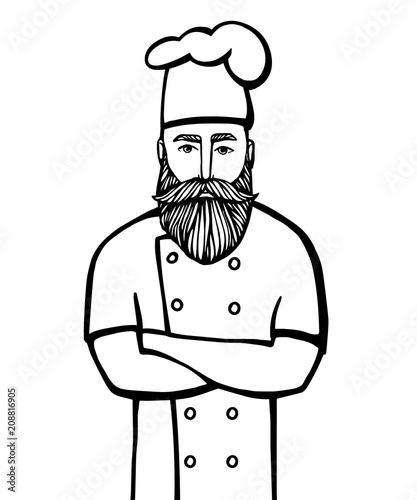 Photo Hand drawn vector illustration of hipster chief-cooker with a mustache and beard in a white dress