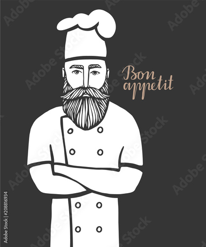 Hand drawn vector illustration of hipster chief-cooker with a mustache and beard in a white dress Wallpaper Mural
