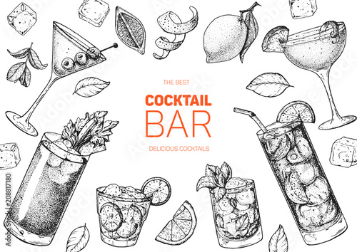 Fotografia, Obraz Alcoholic cocktails hand drawn vector illustration