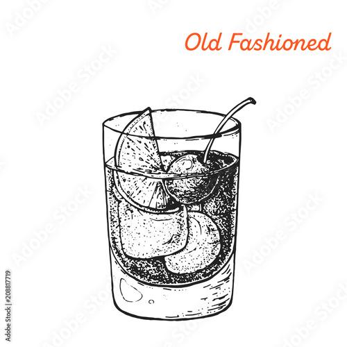 Obraz Old Fashioned cocktail illustration. Alcoholic cocktails hand drawn vector illustration. Sketch style - fototapety do salonu