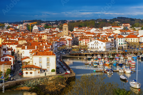 Traditional basque houses in the Old Town of Saint Jean de Luz, France
