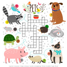 Kids Crosswords With Pets. Chi...