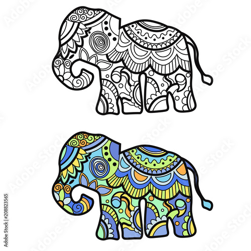 78cb1819 Mehndi colored traditional indian ethnic symbol with elephant. Good for  henna design, fabric, textile, t-shirt print or poster