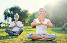 Yoga At Park. Middle Aged Fami...