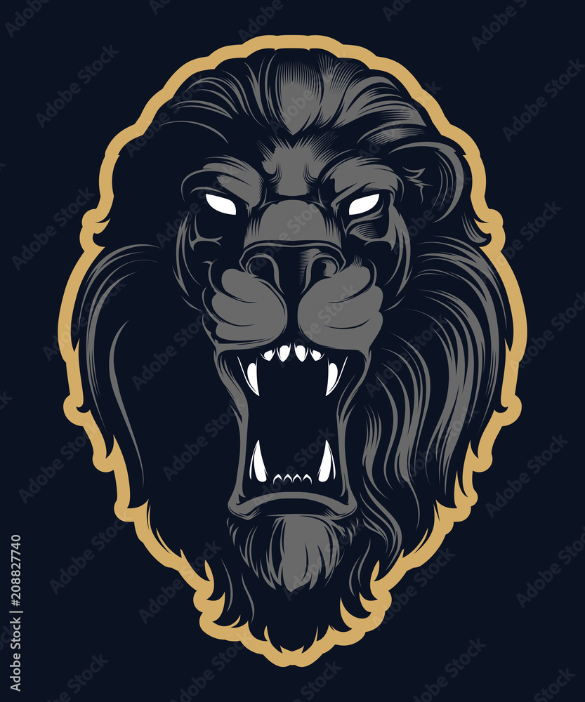 Fototapeta Roaring lion head mascot, colored version. Great for sports logos and team mascots.