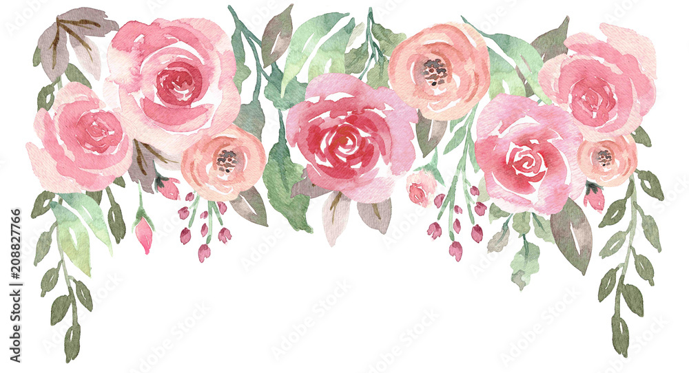 Fototapety, obrazy: Loose Watercolor Floral Drop with Roses