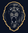 Roaring lion head mascot, colored version. Great for sports logos and team mascots.