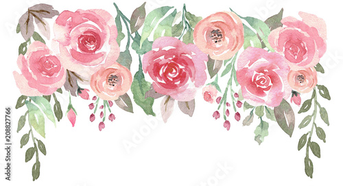 Loose Watercolor Floral Drop with Roses Wallpaper Mural
