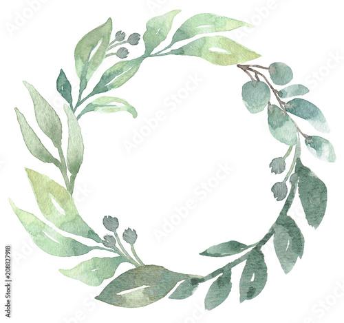 Fotografía  Loose Watercolor Greenery Foliage Wreath