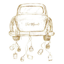 Watercolor Hand Painted Wedding Romantic Illustration On White Background - Vintage Gold Car With Cans. Just Married! Perfect For Logo, Greeting Cards, Wedding Invites, Decoration, Posters, Icons, Etc