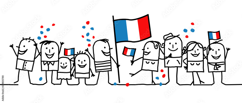 Fototapety, obrazy: Cartoon people - national french day