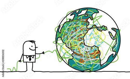 Fotografie, Tablou  Cartoon man untangling the earth