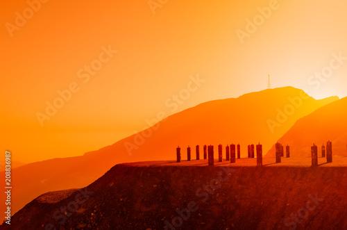 Foto auf Leinwand Rotglühen Jebel Jais mountain in Ras Al Khaimah