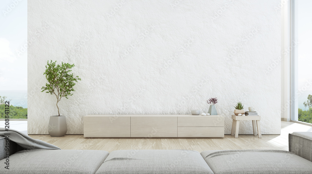 Fototapety, obrazy: Sea view living room of luxury summer beach house with TV stand and wooden cabinet. Empty rough white concrete wall background in vacation home or holiday villa. Hotel interior 3d illustration.
