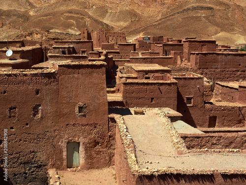 Staande foto Afrika Brown abstract background from geometric shapes traditional houses in the Berber village, Morocco.