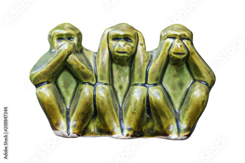 Foto op Plexiglas Aap Close up Monkey statues made of ceramic in concept of see no evil, hear no evil and speak no evil.on white background
