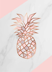 NaklejkaGeometric rose gold Pineapple shape with marble background texture design for packaging, wedding card and cover template.