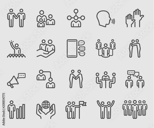 Fotografía  Line icons set for Team relationship, Business, Human group