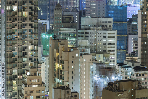 Photo  high rise residential buildings in Hong Kong city at night