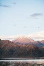 MIsty Mountain Peak In Sunset ...