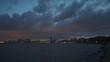 evening sunset time zhuhai city bay panorama 4k china