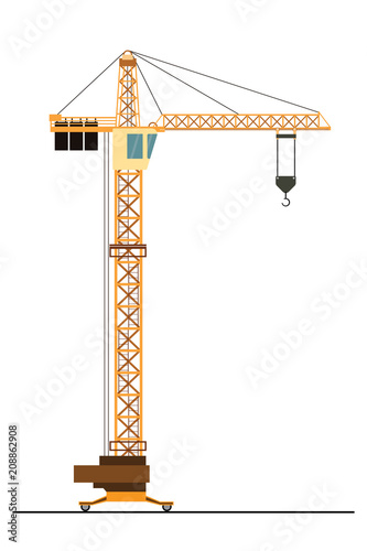 Construction crane isolated on white background, Canvas Print