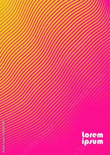 Vertical abstract background with striped halftone pattern in fluorescent colors. A wavy texture of gradient line ornament. Design template of flyer, banner, cover, poster in A4 size. Vector