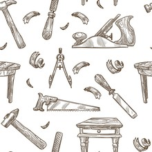 Carpentry Tools Vector Pattern Background