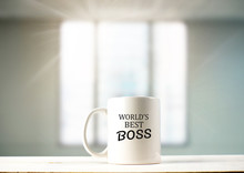 World's Best Boss Text On Coff...