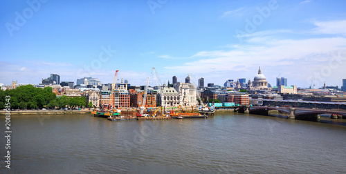 Fotografie, Obraz  Panorama of The City of London overlooking The River Thames with various iconic