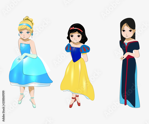 Photo  Cinderella, Snow White, Mulan, Fairy-tale Heroes anime